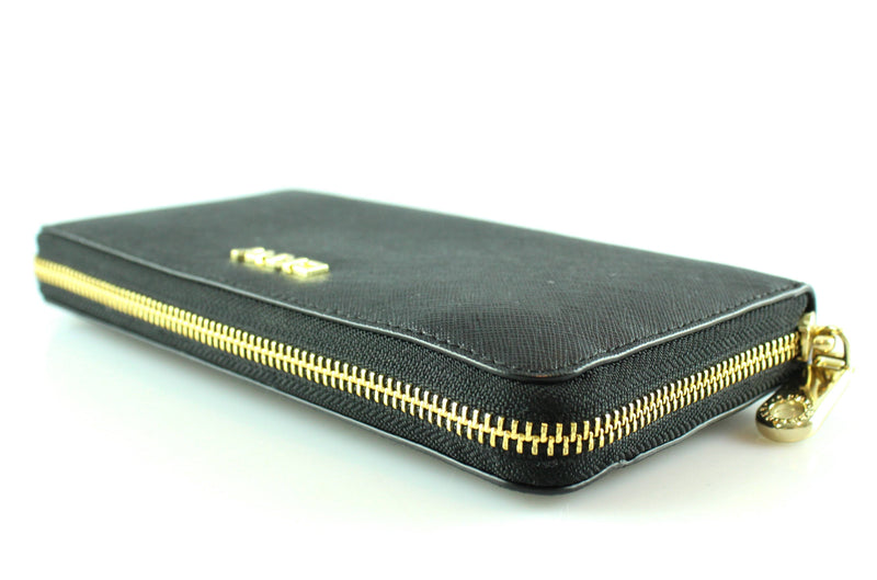 DKNY Black Saffiano Zip Around Wallet GH