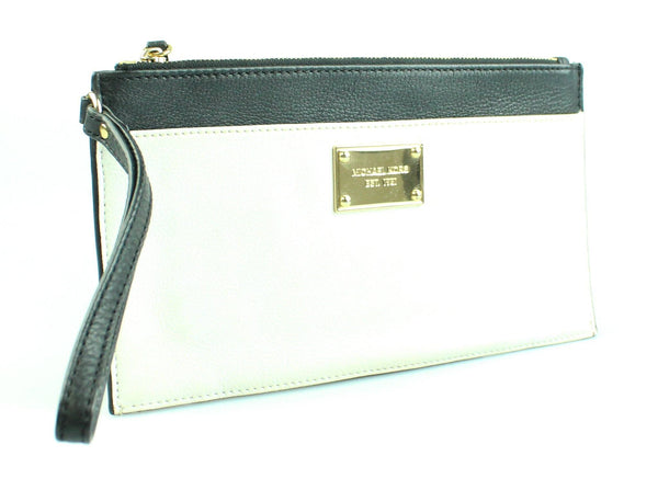 Michael Kors Black & White Leather Wristlet