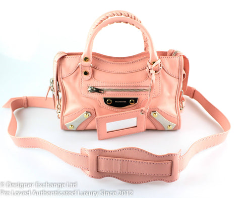 Balenciaga Pink Metal Plate Mini City RRP