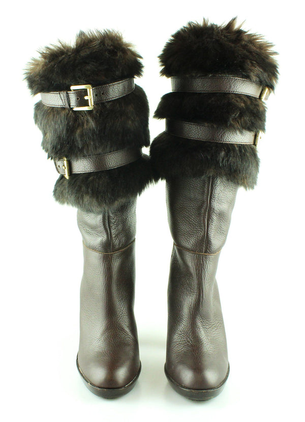 Michael Kors Faux Fur Lined Brown Leather Boots EUR39 UK6