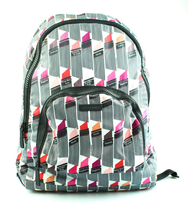 Lulu Guinness Lipstick Print Nylon Fold Away Backpack