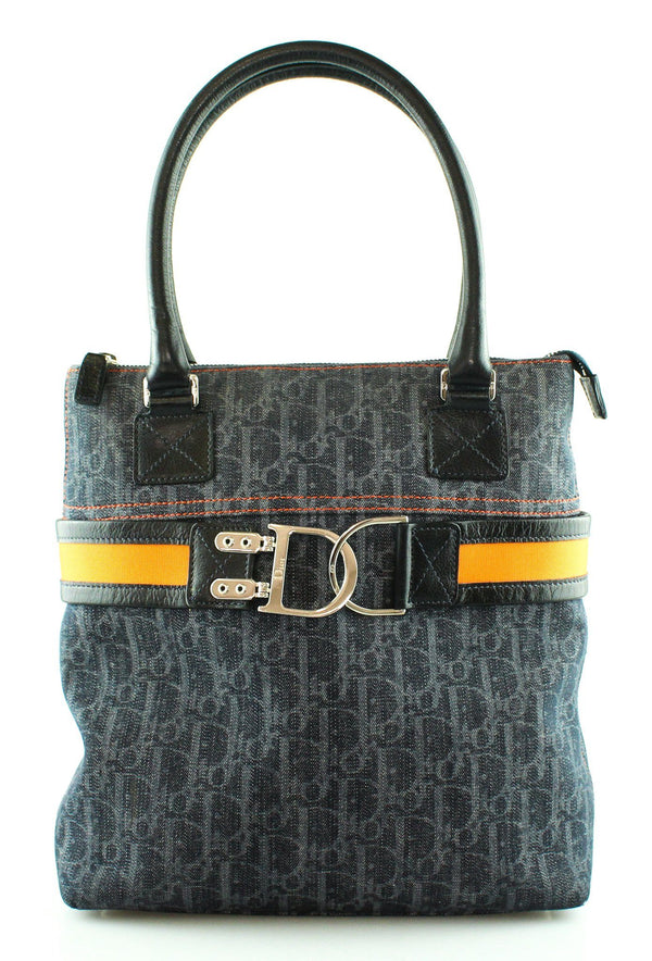 Christian Dior Blue Canvas Remove Before Flight Small Tote