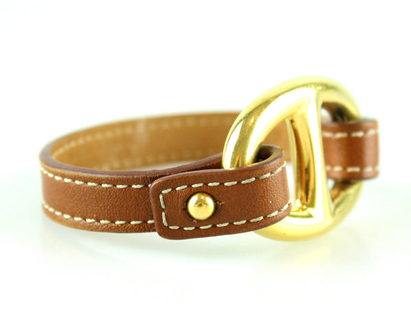 Hermes Gold Plated Granville Cuff Leather Bracelet XS 2013