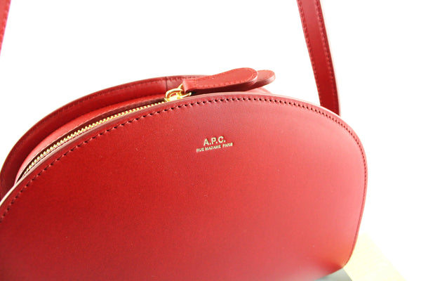 APC Red Smooth Leather Half Moon Bag