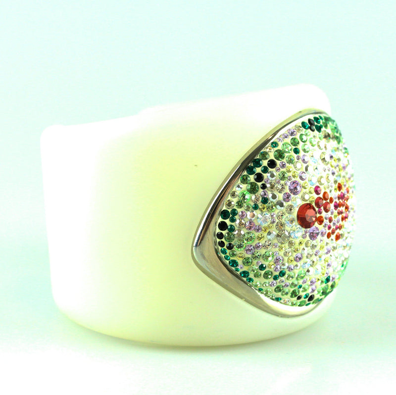 Swarovski White Cuff With Multicolour Crystals Small