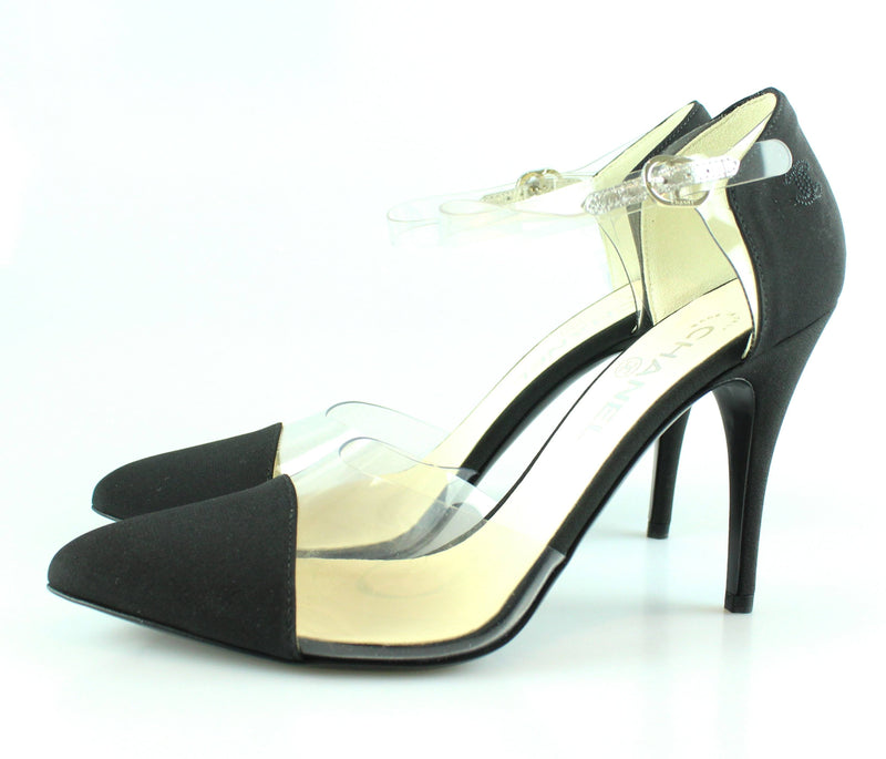 Chanel Black Pointed Perspex Court Heel 40/7
