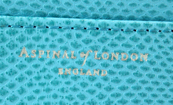 Aspinal Of London Mini Continental Wallet Sky Blue Embossed Lizard Leather 2