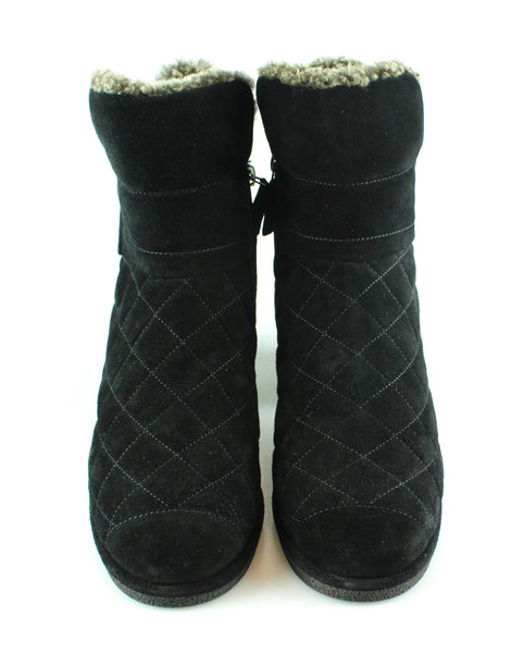Chanel Black Suede Quilted Booties Sheepskin Lined 40/7 RRP €840