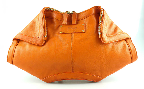 Alexander McQueen Orange Leather De Manta Clutch