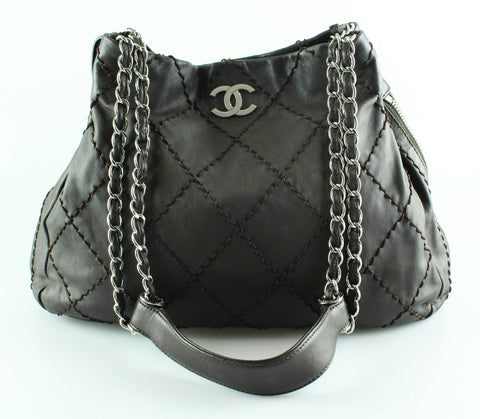 Chanel Brown Soft Calf Wild Stitch Chain Hobo 2007/08