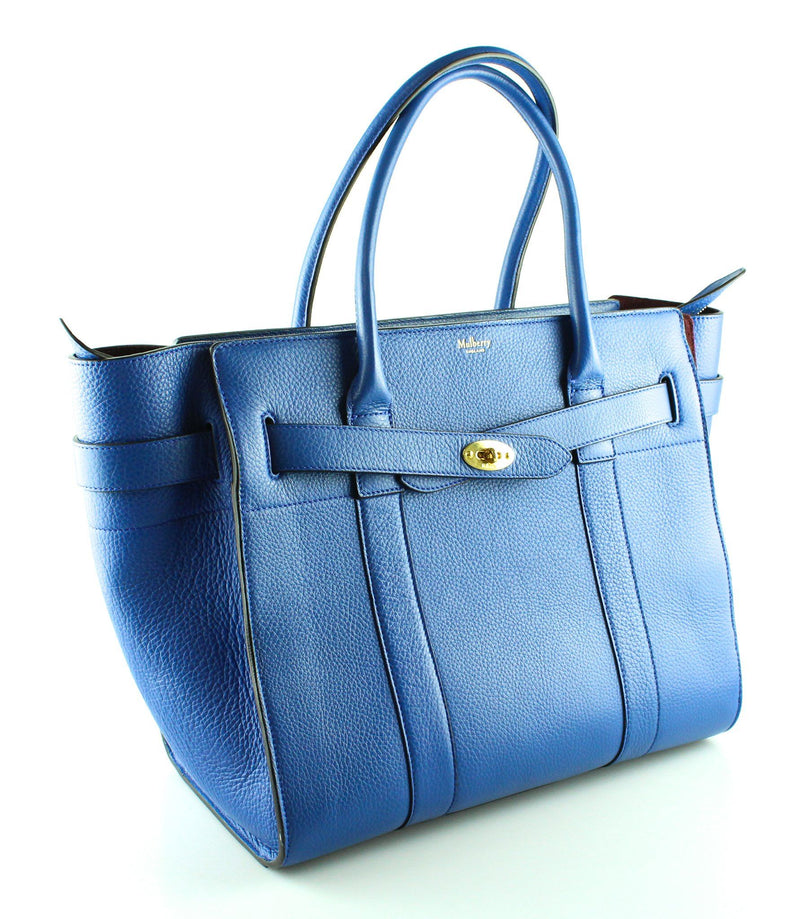 Mulberry Blue Leather Large Zipped Bayswater Gold Hardware