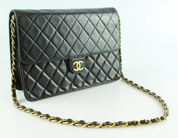 Chanel Vintage Black Lambskin Single Flap GH 1996/97