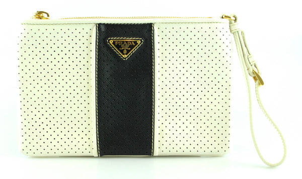 Prada Navy And White Perforated Clutch/Wristlet