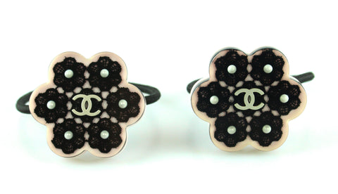 Chanel Resin Hair Ties x 2 With Floral Pearl And Pink Detail