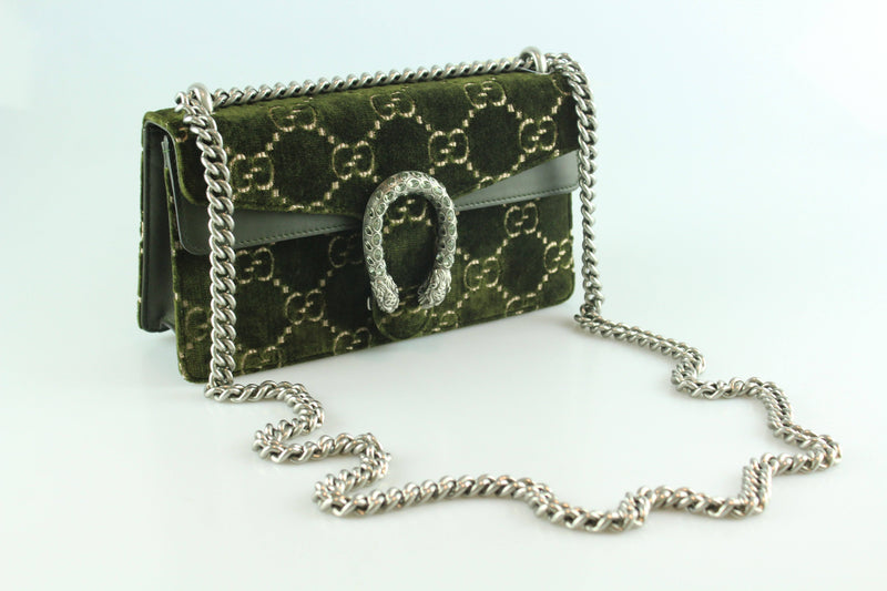 Gucci Dionysus GG Velvet Small Shoulder Bag Olive SH Boxed As New