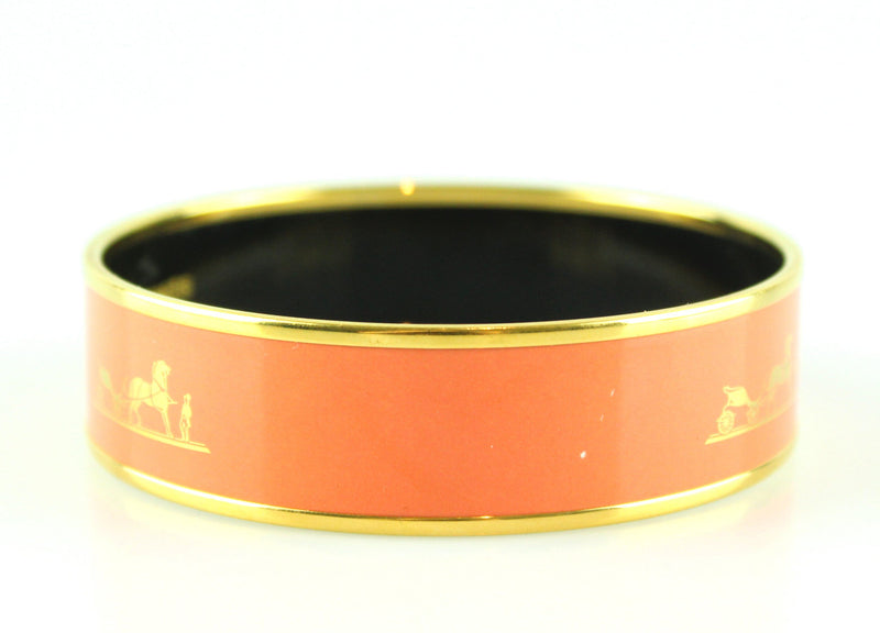 Hermes Wide Bangle +R Size (M) Coral Signature With Gold Trim