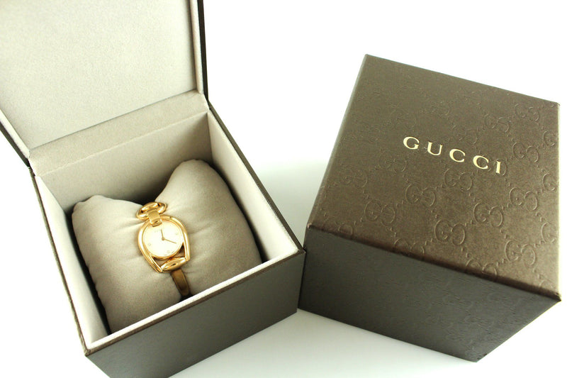 Gucci Rose Gold Horsebit Watch With Sapphire Crystals Mother Of Pearl Dial