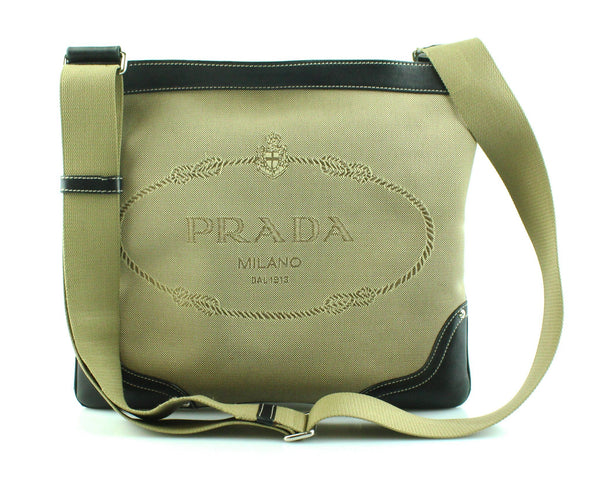 Prada Logo Canvas/Leather Messenger
