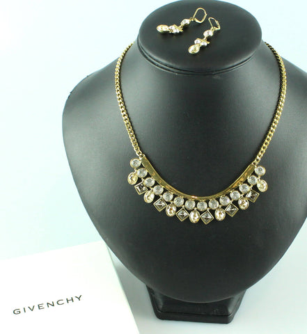 Givenchy Costume Diamante And Clear Stone Necklace And Drop Earring Set