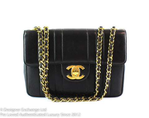 Chanel Vintage Vertical Stitch Black Jumbo Flap Bag 1991/94