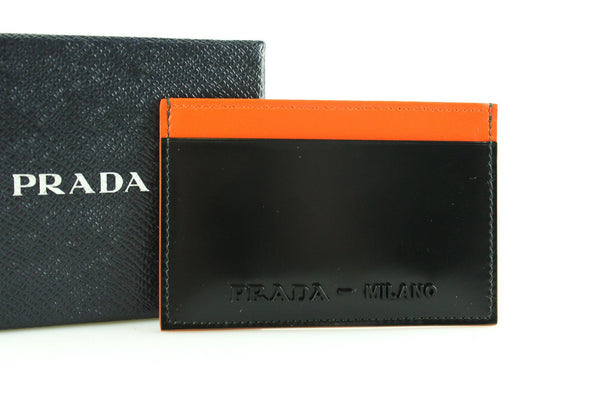 Prada Black Spazzalato City Card Holder