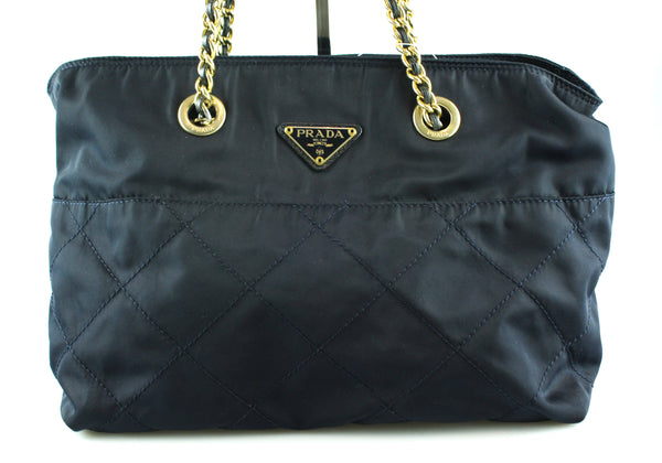 Prada Navy Blue Nylon Gold Chain Shopper