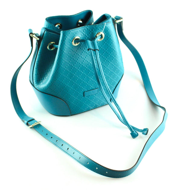 Gucci Bright Blue Diamante Leather Small Bucket Bag 2