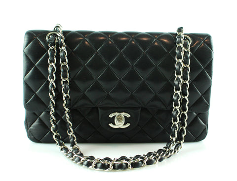 Chanel Black Lambskin Medium Double Flap SH 2013/14