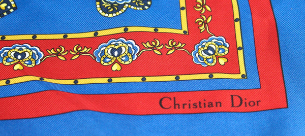 Christian Dior Blue/Red Silk Square