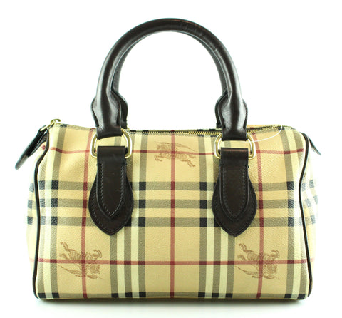 Burberry Heritage Check Bowling Bag GH With Brown Leather Handles 3d987f1071c3c