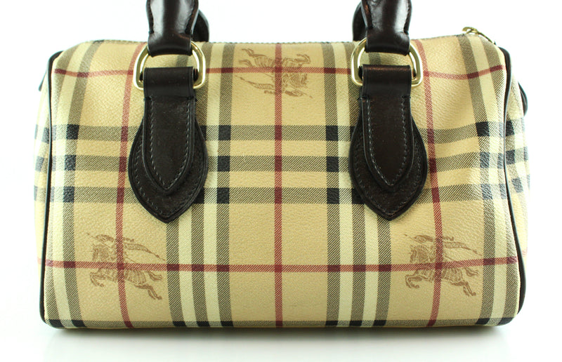 Burberry Heritage Check Bowling Bag GH With Brown Leather Handles