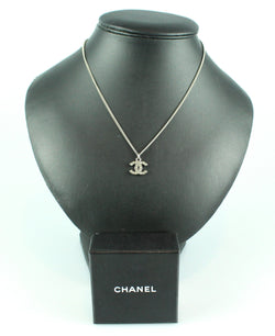 Chanel Silvertone CC Pendant Necklace With Clear Stones B11