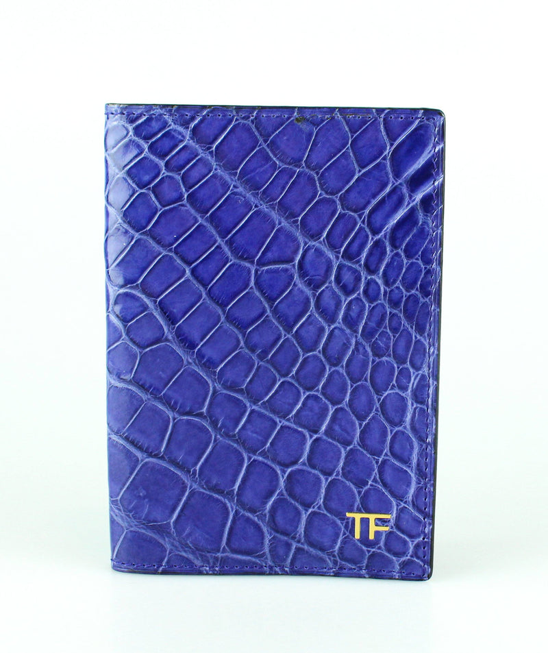 Tom Ford Blue Croc Leather Passport Holder