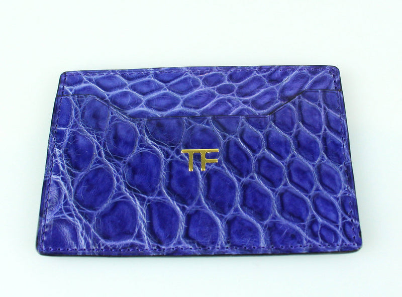 Tom Ford Blue Croc Leather Card Holder