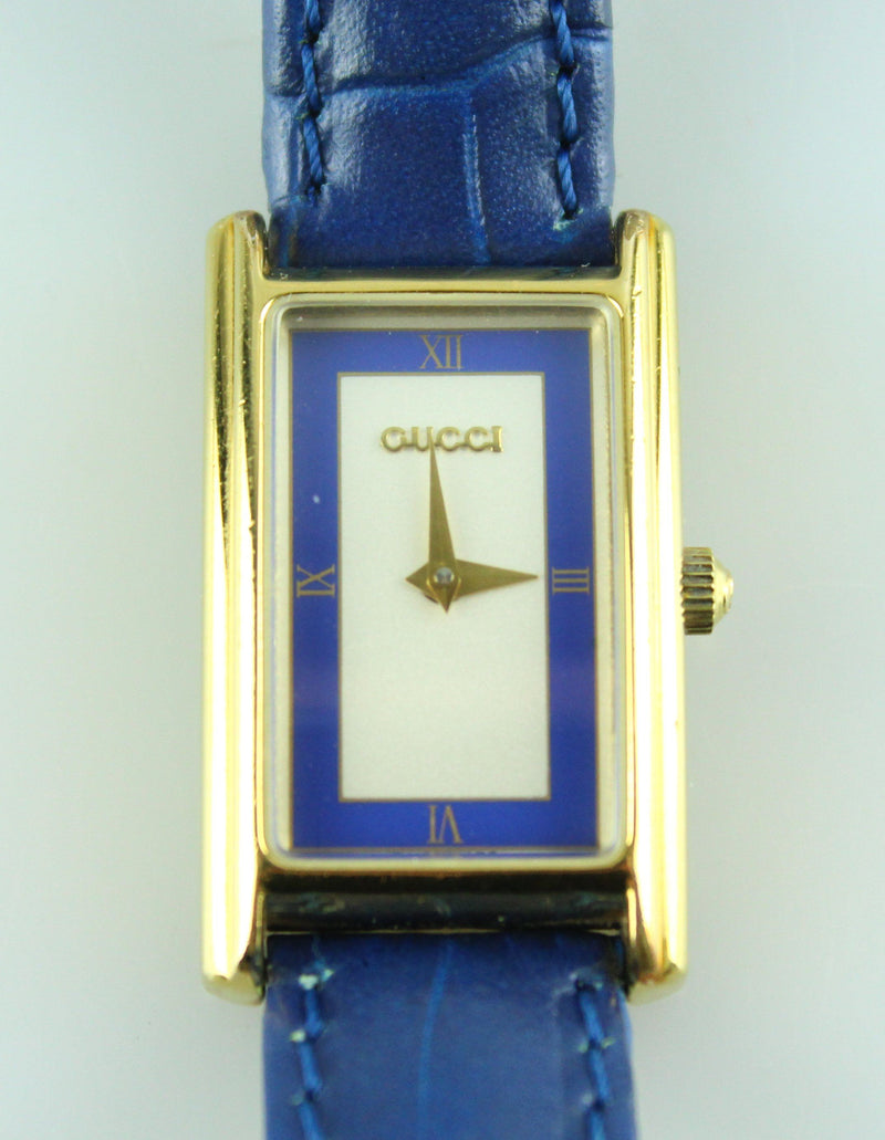 Gucci Gold Plated 2600L Blue Leather Croc Embossed Strap Watch