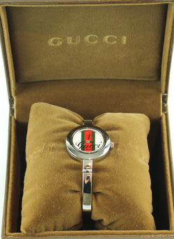 Gucci Stainless Steel Signature Web Dial 105 Watch Boxed