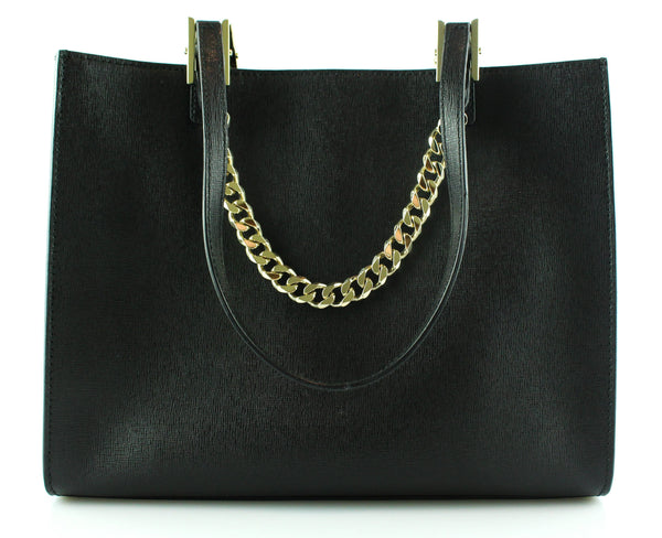 Furla Black Saffiano Gold Chain Mini Tote