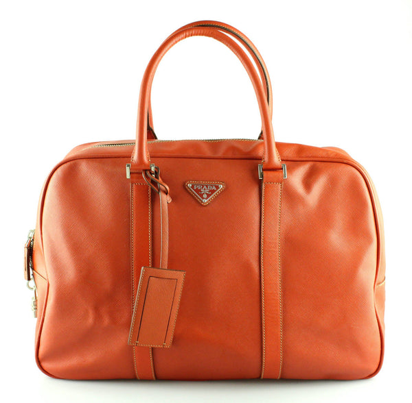 Prada Saffiano Burnt Orange Travel Bag