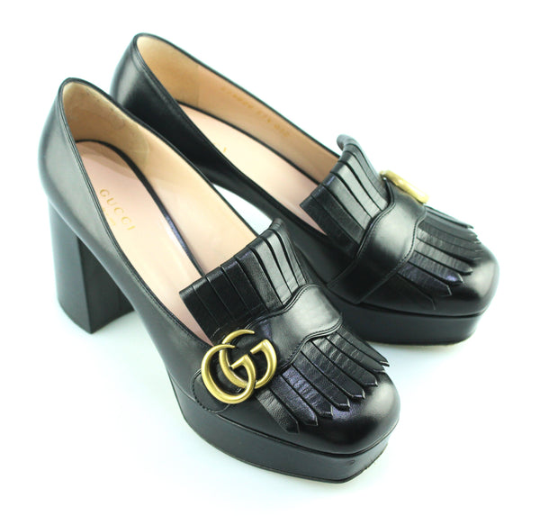 Gucci Leather Platform Pumps With Fringe EUR 37.5 UK 4.5 (RRP €790)
