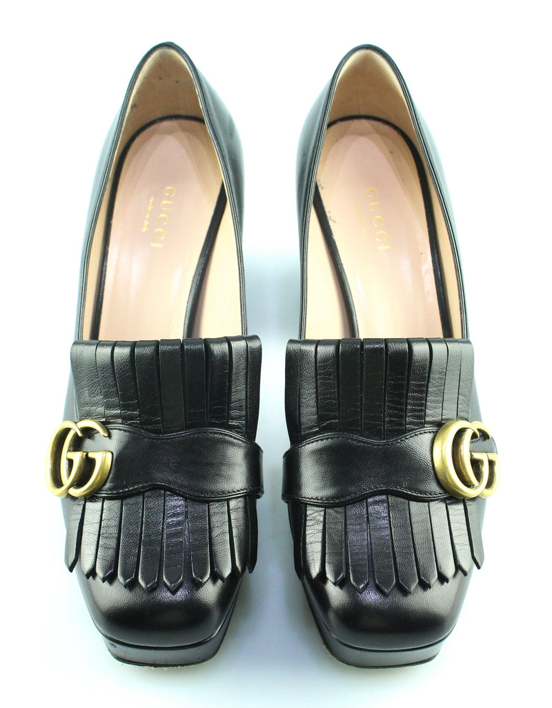 Gucci Marmont Leather Platform Pumps With Fringe EUR 37.5 UK 4.5 (RRP €790)