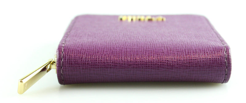 Furla Violet Leather Micro Zip Around Coin Purse