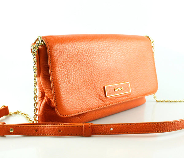 DKNY Orange Grained Leather Crossbody