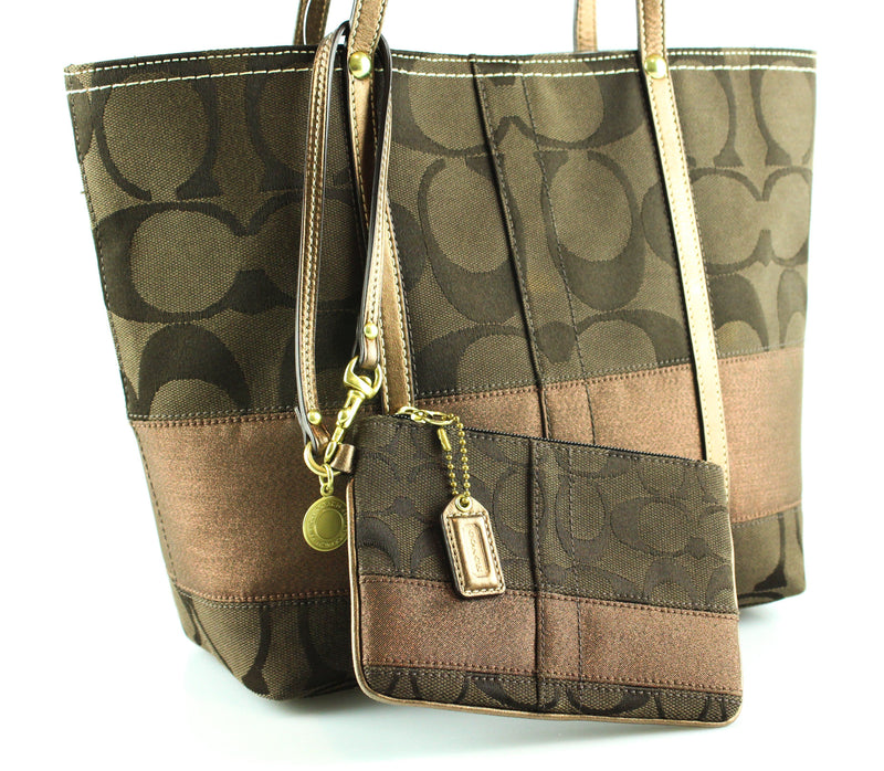 Coach Signature Dark Brown Tote With Pochette