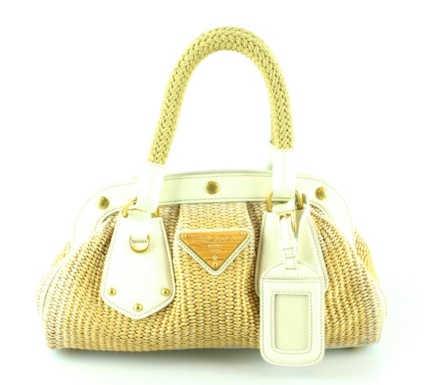 Prada Raffia Frame Bag Small White
