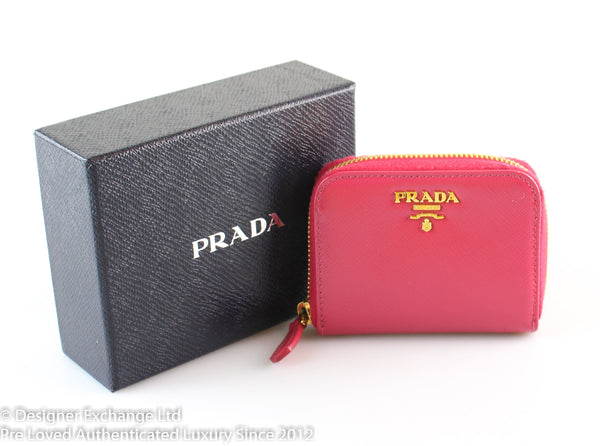 Prada Saffiano Vernic Peony Compact Zip Coin And Card Purse