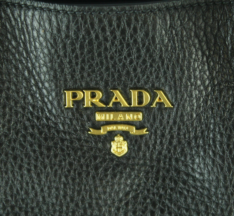 Prada Vitello Daino Black Leather Side Zip Shopper GH