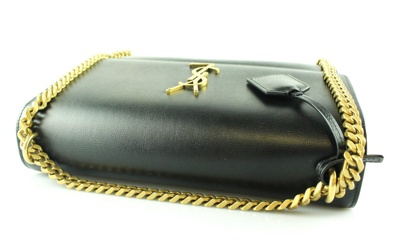 Saint Laurent Large Sunset Black Smooth Leather Antiqued Gold Hardware
