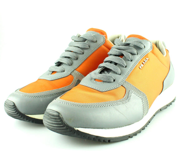 Prada Orange And Grey Neoprene Sneakers UK 6 EUR 39
