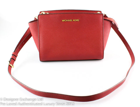 Michael Kors Small Red Saffiano Selma Cross Body