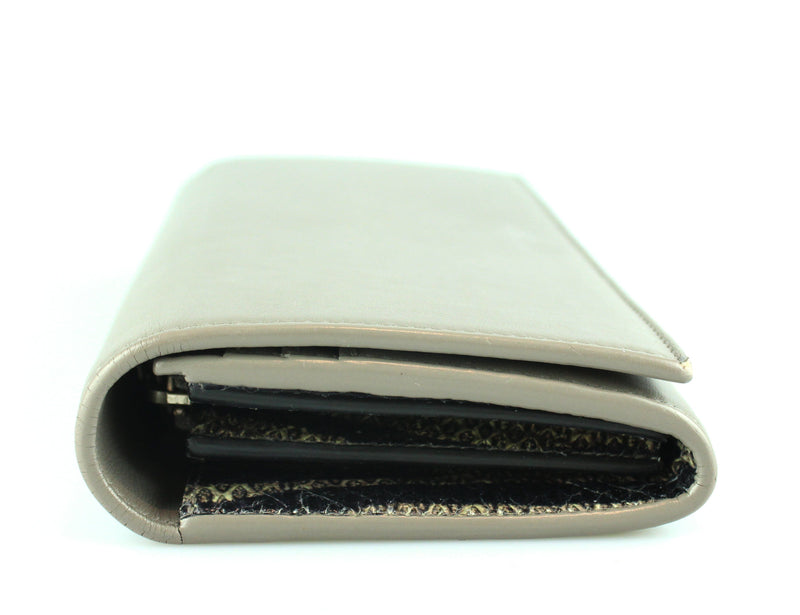 Saint Laurent Grey Flap Calfskin Wallet With Snake Interior Trim